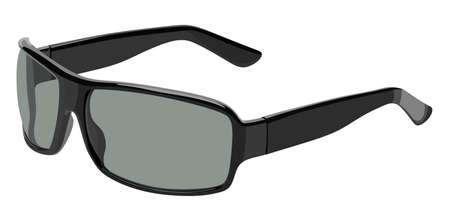 eyewear: Gray sunglasses side view on a white background