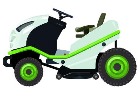 Green lawnmower vector