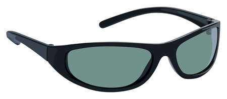 Black sunglasses side view on a white background