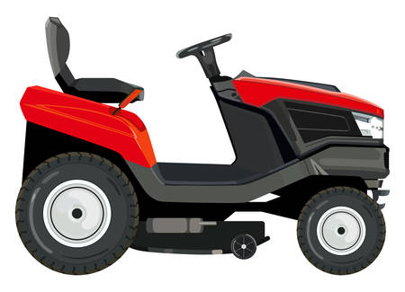 Red lawnmower on a white background Vectores
