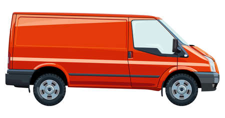 Side of the light commercial vehicle on a white background Illustration