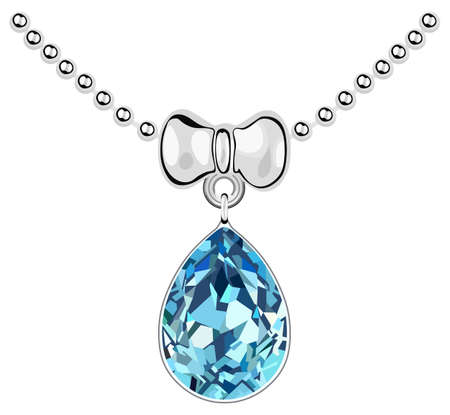 Pendant with a blue diamond on a silver chain Illustration