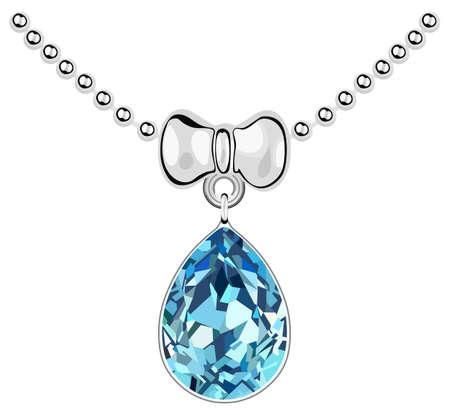 Pendant with a blue diamond on a silver chain Ilustração