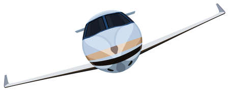 Flying a plane front view on a white background Illustration
