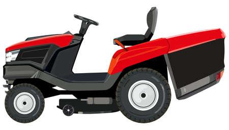 Red lawnmower on a white background Ilustração