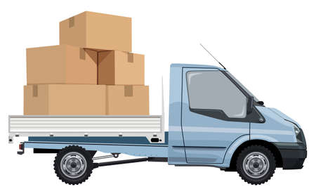 Cargo transportation by car on a white background Illustration