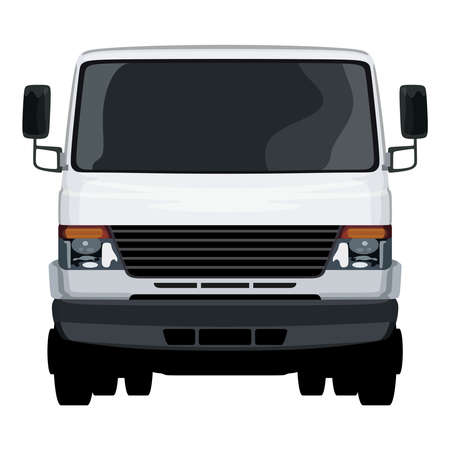 The front side of the light commercial vehicle on a white color illustration. Ilustração