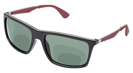 Gray sunglasses side view on a white color illustration. Ilustração