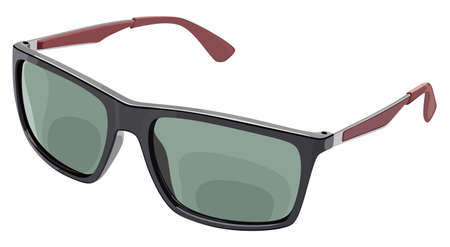 Gray sunglasses side view on a white color illustration. Illustration