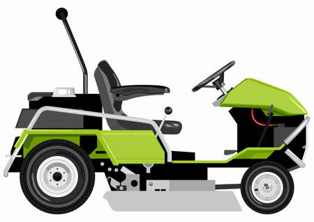 Green lawnmower on a white color backdrop illustration.