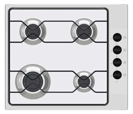 Gray shut down gas stove on white color illustration.