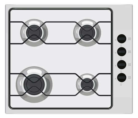Gray shut down gas stove on white color illustration.