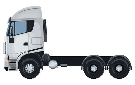 White truck without a trailer on a white color illustration. Illustration