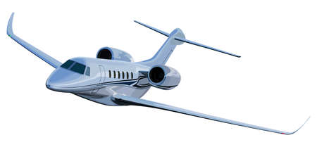 Jet airplane on a white color illustration.