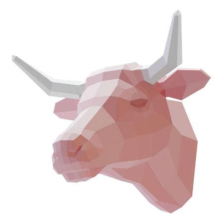 3d muzzle of a cow on a white color illustration. Ilustração