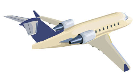 Jet airplane on a white background Illustration
