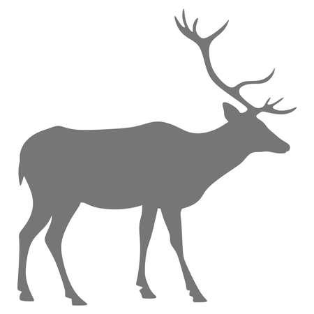 Silhouette of a deer on a white background Ilustração