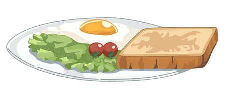 Plate with breakfast on white background Ilustração