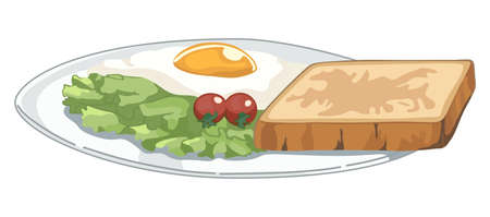 Plate with breakfast on white background Illustration