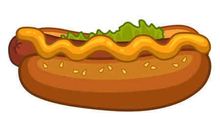 Hot dog with mustard and salad on white background