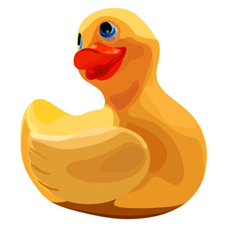 Rubber ducky for bath on white background