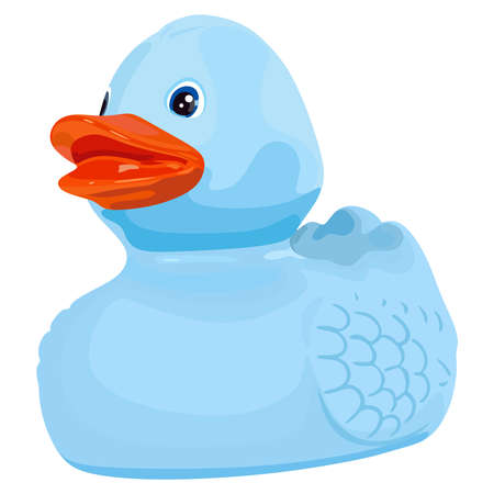 Happy blue duck on white background