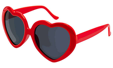 Women's glasses hearts on a white background Illustration
