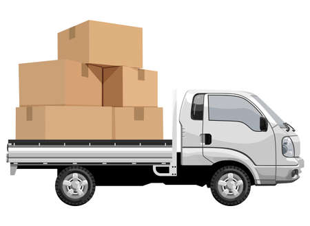 Filled truck on white background