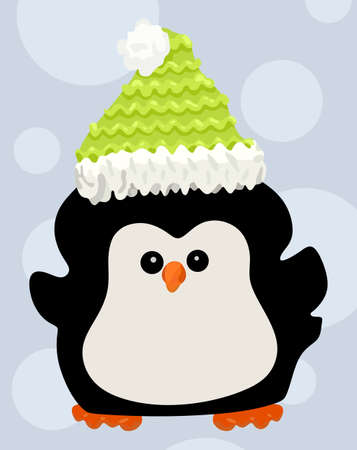 Cute penguin in a hat on circle background