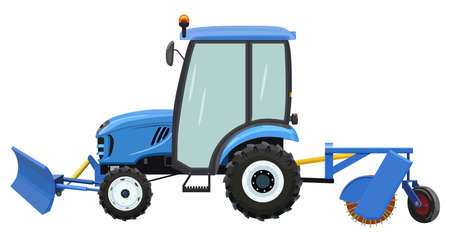 Tractor for street cleaning on a white background Ilustração