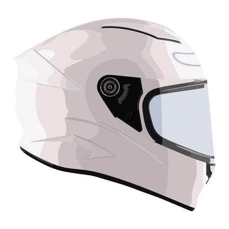Casco de moto blanco sobre un fondo blanco.