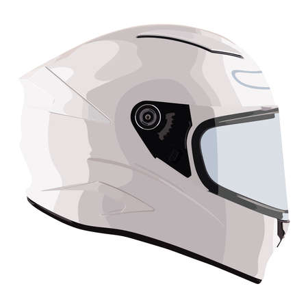 Weißer Motorradhelm auf weißem Hintergrund