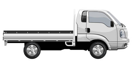 Small truck without cargo on a white background Vectores