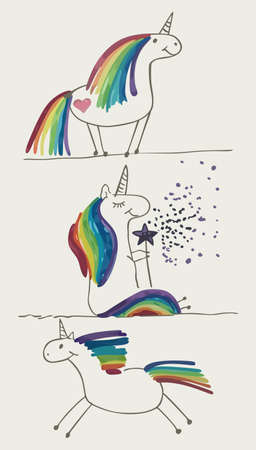 Set of images with a rainbow pony