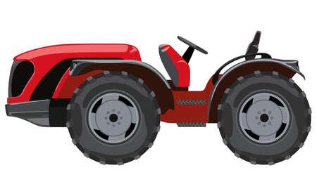 Roter Traktor eine Seitenansicht auf weißem Hintergrund