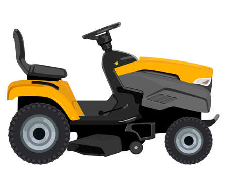 Yellow lawnmower on a white background