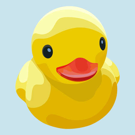 Rubber ducky for bath on blue background