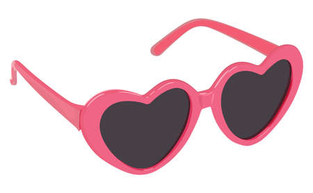 Women's glasses hearts on a white background Vectores
