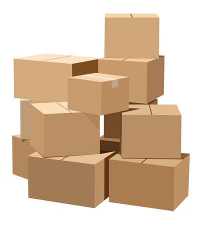 Pile de boîtes en carton sur fond blanc