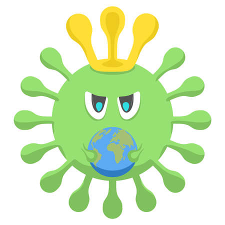 Coronavirus holds the planet in his hands on a white background