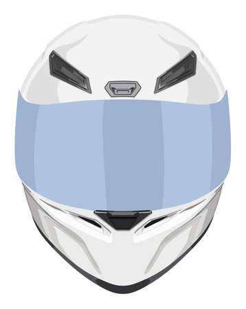 White front motorcycle helmet on a white background Vectores