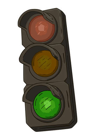 Traffic light with burning green on a white background Standard-Bild - 142481262