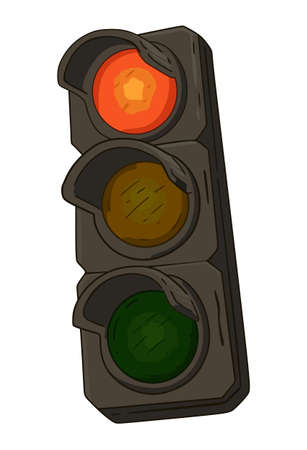 Traffic light with burning red on a white background