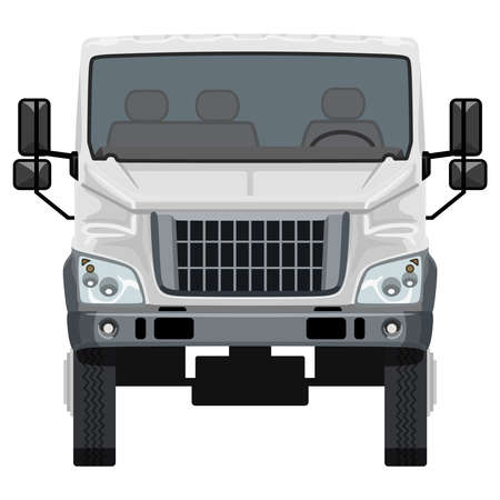 Front white truck on white background