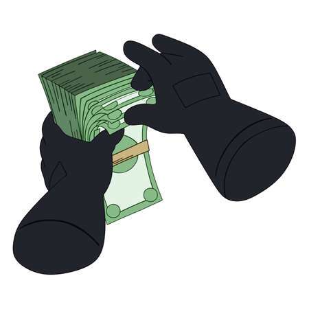 A pack of money in the hands in gloves