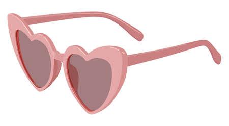 Pink heart-shaped sunglasses on a white background Çizim