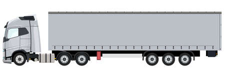 White truck with a trailer on a white background Standard-Bild - 152155241