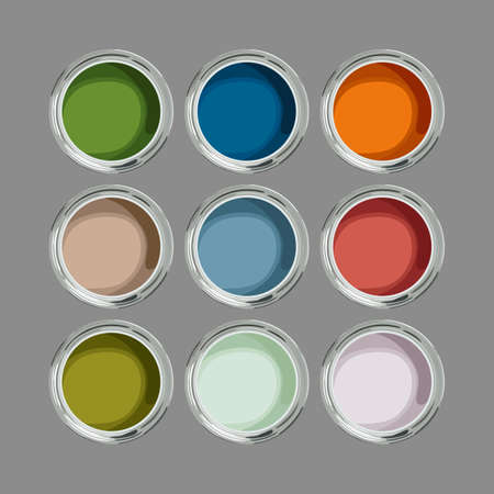 Multicolored paint cans top view Standard-Bild - 152154149