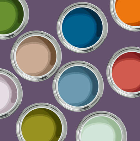 Multicolored paint cans top view Standard-Bild - 152155253