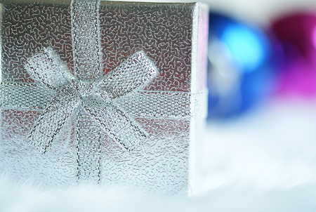 mirror ball: Christmas Gift box and mirror ball Stock Photo